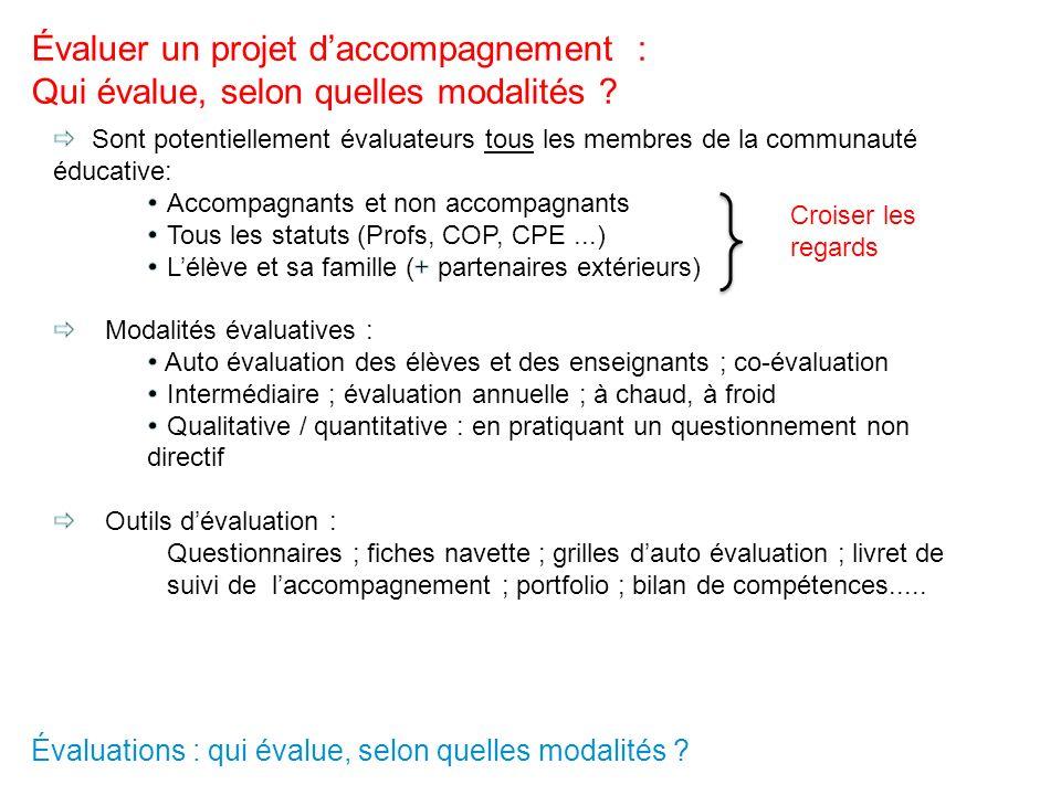 Évaluations : qui évalue, selon quelles modalités ? Évaluer un projet daccompagnement : Qui évalue, selon quelles modalités ? Croiser les regards
