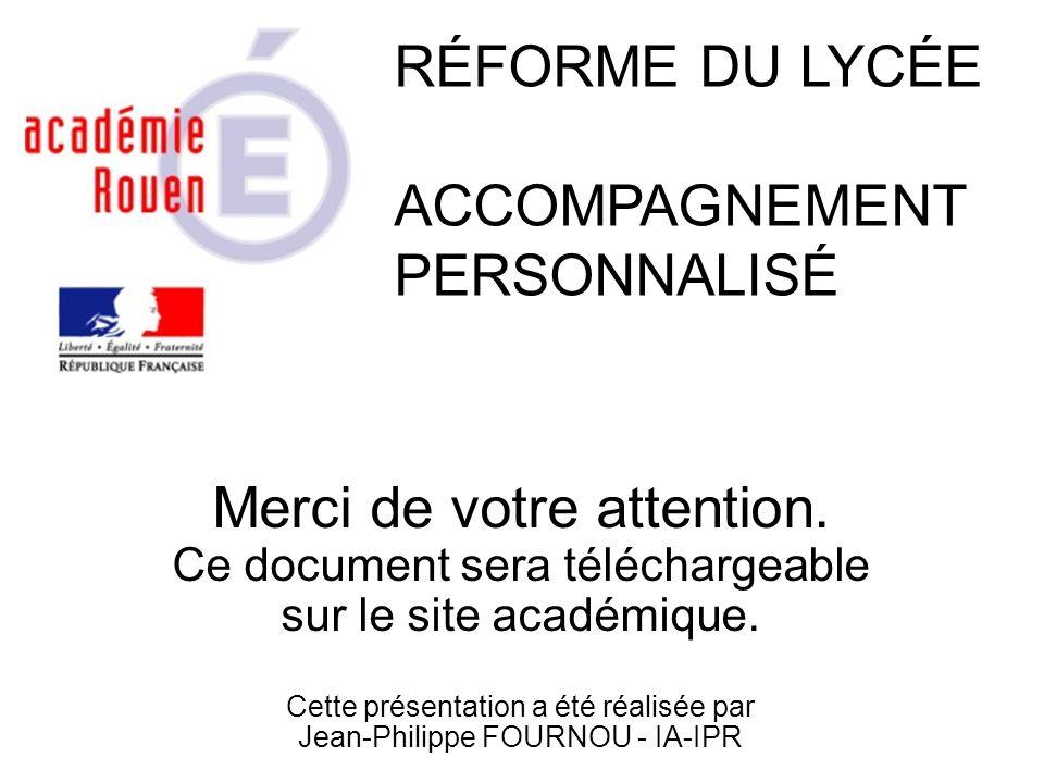 Merci de votre attention. Ce document sera téléchargeable sur le site académique. Cette présentation a été réalisée par Jean-Philippe FOURNOU - IA-IPR