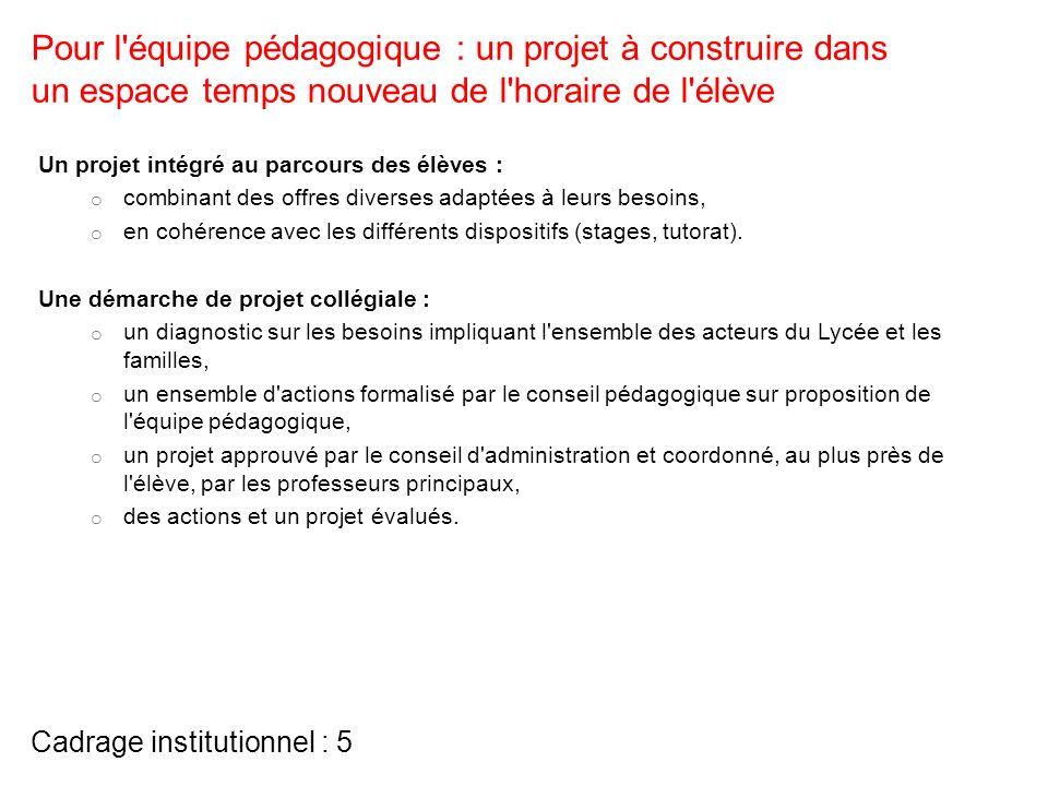 Cadrage institutionnel : 5 Un projet intégré au parcours des élèves : o combinant des offres diverses adaptées à leurs besoins, o en cohérence avec le