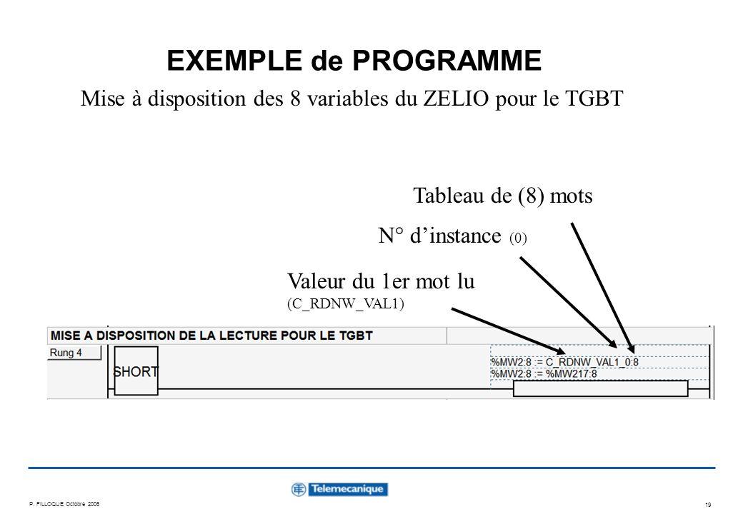 P. FILLOQUE Octobre 2006 19 EXEMPLE de PROGRAMME Mise à disposition des 8 variables du ZELIO pour le TGBT Valeur du 1er mot lu (C_RDNW_VAL1) N° dinsta