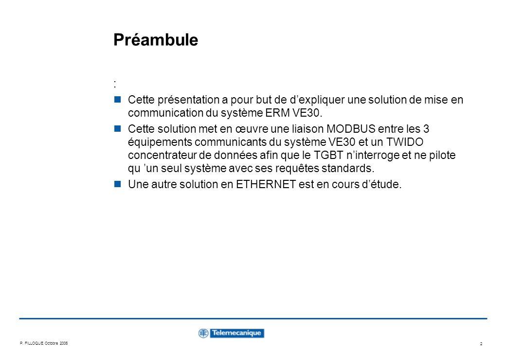 P. FILLOQUE Octobre 2006 2 Préambule : Cette présentation a pour but de dexpliquer une solution de mise en communication du système ERM VE30. Cette so