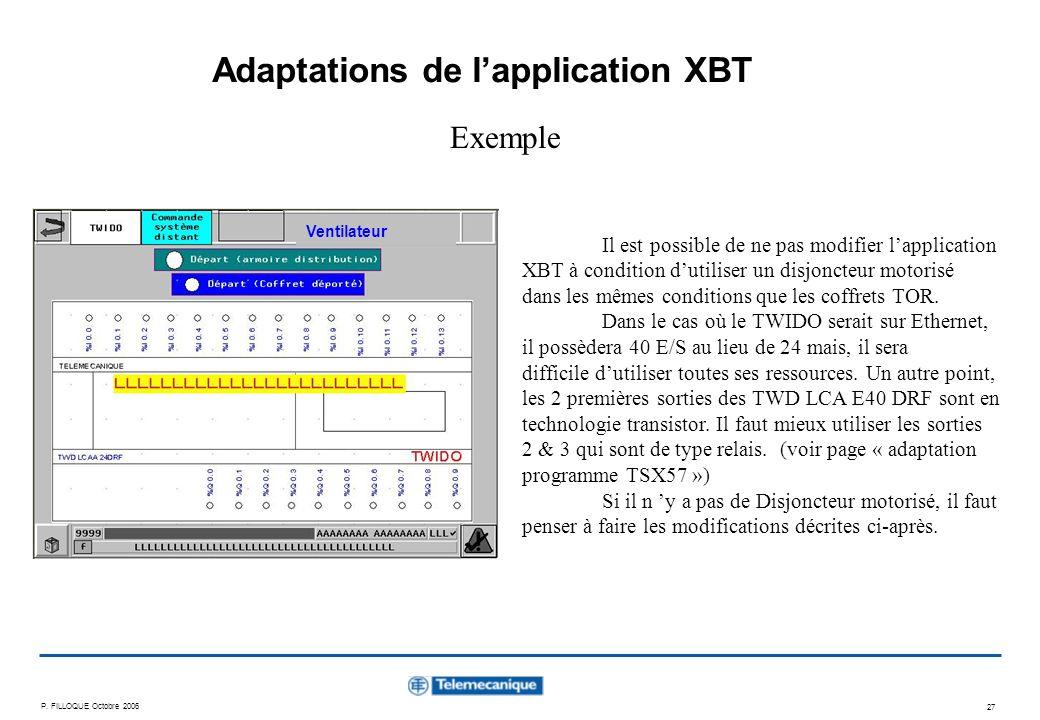P. FILLOQUE Octobre 2006 27 Adaptations de lapplication XBT Exemple Il est possible de ne pas modifier lapplication XBT à condition dutiliser un disjo