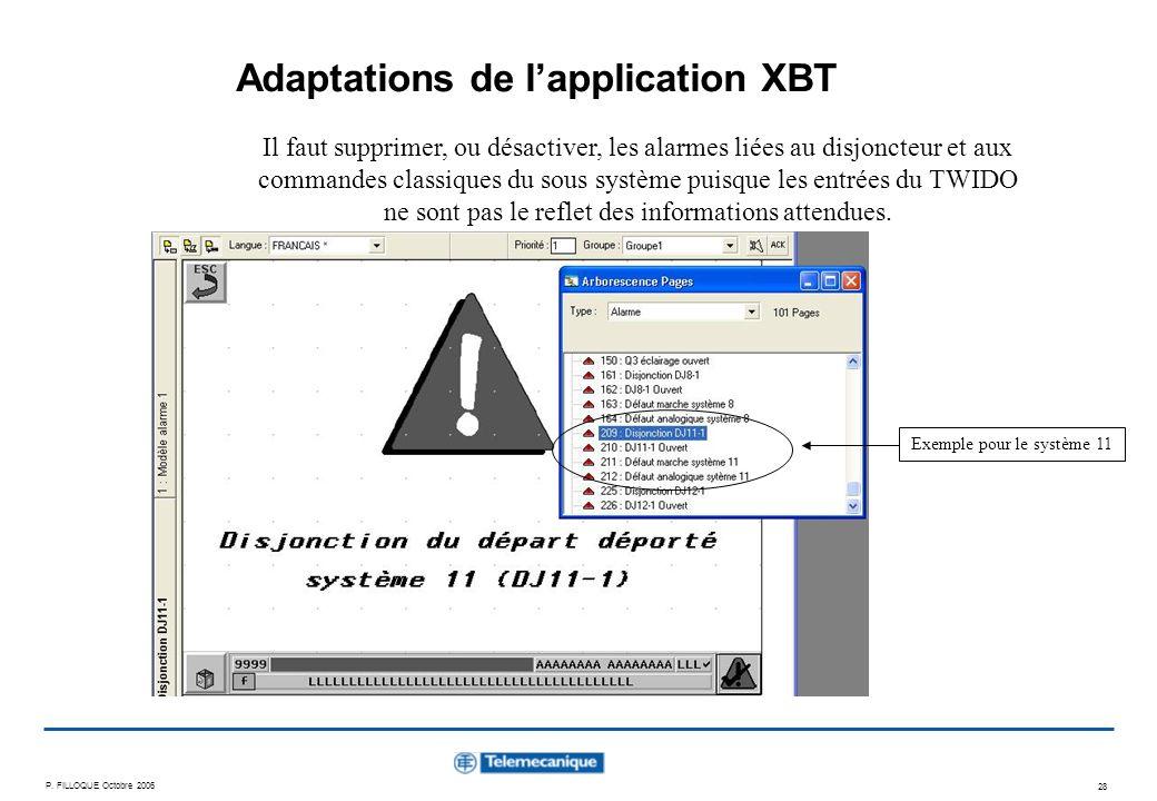 P. FILLOQUE Octobre 2006 28 Adaptations de lapplication XBT Il faut supprimer, ou désactiver, les alarmes liées au disjoncteur et aux commandes classi
