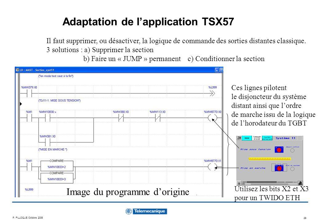 P. FILLOQUE Octobre 2006 29 Adaptation de lapplication TSX57 Il faut supprimer, ou désactiver, la logique de commande des sorties distantes classique.