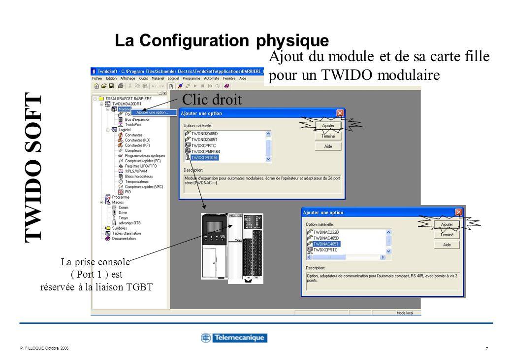 P. FILLOQUE Octobre 2006 7 Clic droit Ajout du module et de sa carte fille pour un TWIDO modulaire La Configuration physique La prise console ( Port 1