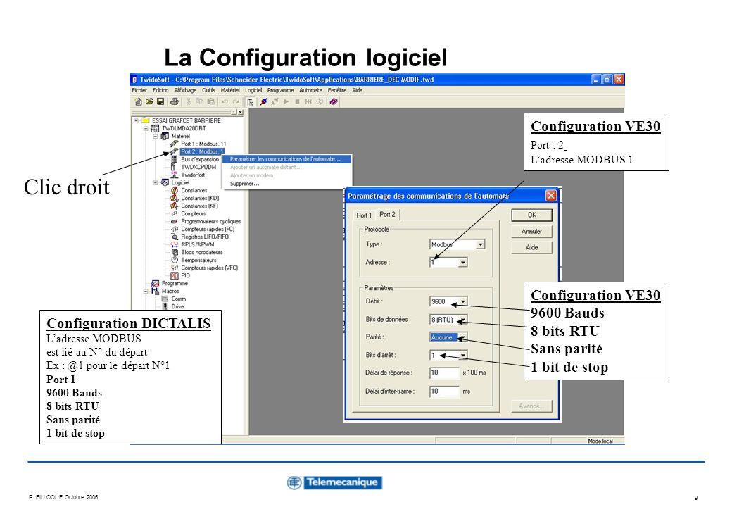 P. FILLOQUE Octobre 2006 9 La Configuration logiciel Clic droit Configuration VE30 9600 Bauds 8 bits RTU Sans parité 1 bit de stop Configuration VE30