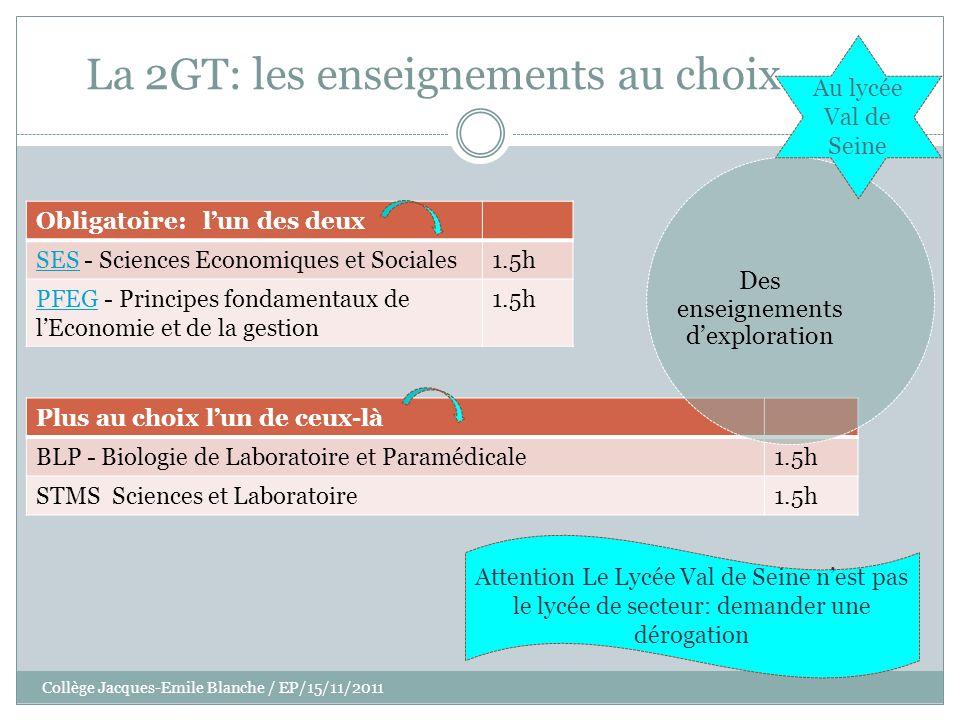 Collège Jacques-Emile Blanche / EP/15/11/2011 La 2GT: les enseignements au choix Obligatoire: lun des deux SESSES - Sciences Economiques et Sociales1.