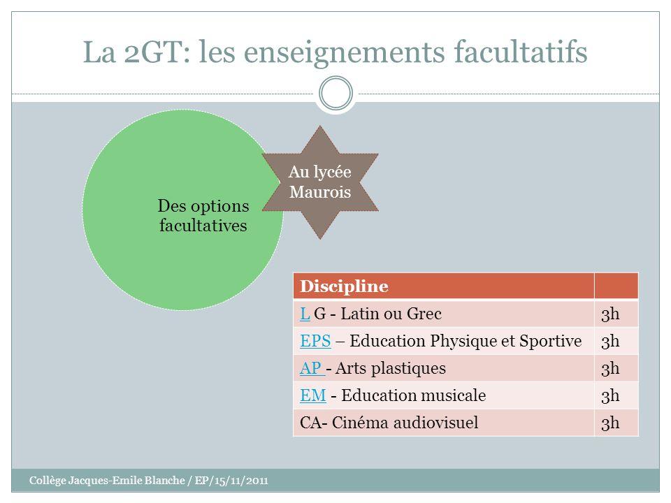 Collège Jacques-Emile Blanche / EP/15/11/2011 La 2GT: les enseignements facultatifs Discipline LL G - Latin ou Grec3h EPSEPS – Education Physique et S
