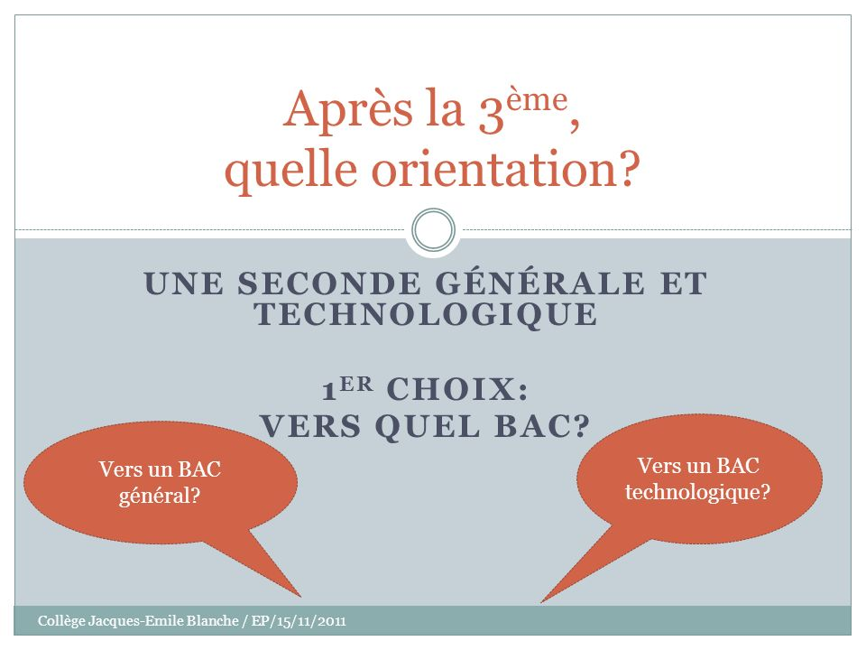 Collège Jacques-Emile Blanche / EP/15/11/2011 La 2GT: les choix Des enseignements communs Des options facultatives Des enseignements dexploration BAC GENERAL BAC TECHNO 1- quel BAC.