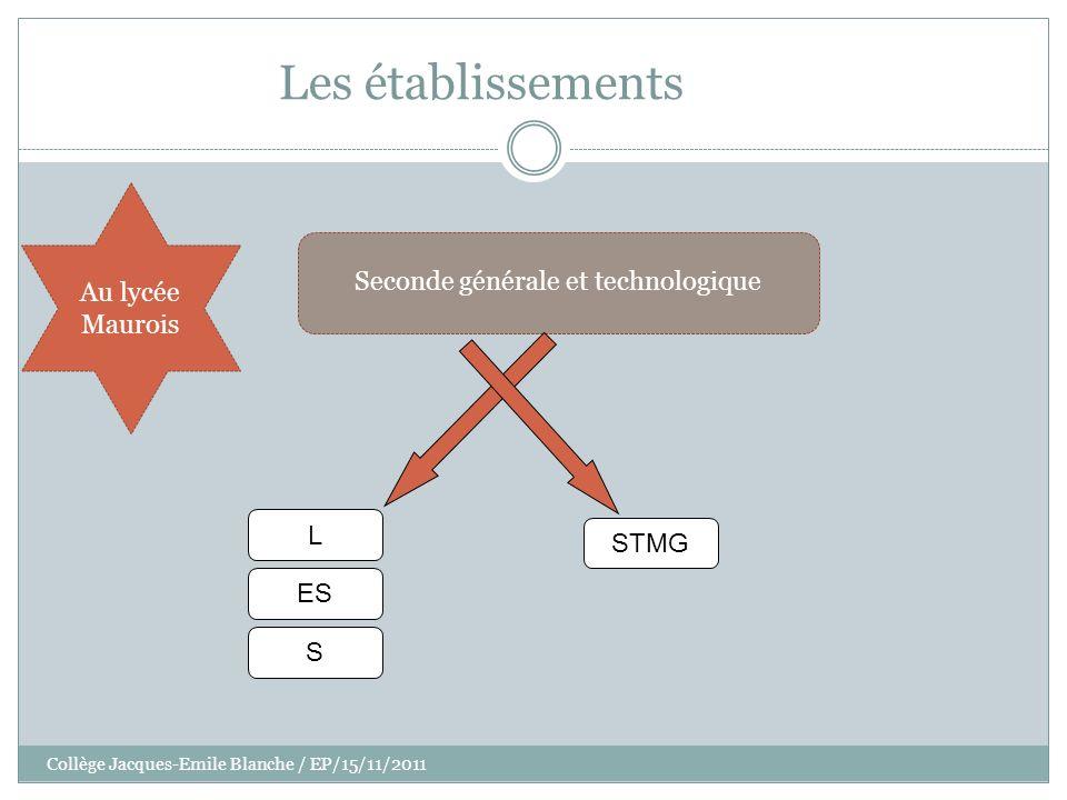 Collège Jacques-Emile Blanche / EP/15/11/2011 Les établissements Seconde générale et technologique Au lycée Maurois L ES S STMG