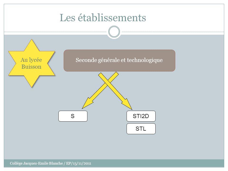 Collège Jacques-Emile Blanche / EP/15/11/2011 Les établissements Seconde générale et technologique S Au lycée Buisson STL STI2D