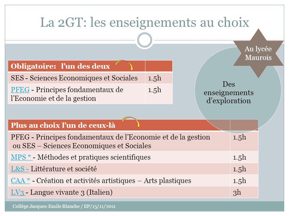 Collège Jacques-Emile Blanche / EP/15/11/2011 La 2GT: les enseignements au choix Obligatoire: lun des deux SES - Sciences Economiques et Sociales1.5h