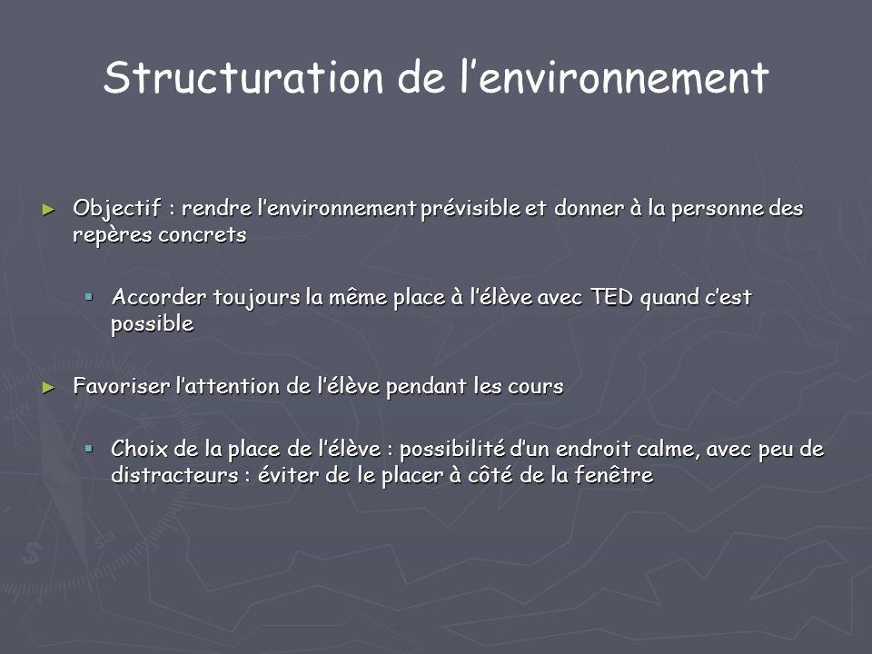 Structuration de lenvironnement Objectif : rendre lenvironnement prévisible et donner à la personne des repères concrets Objectif : rendre lenvironnem