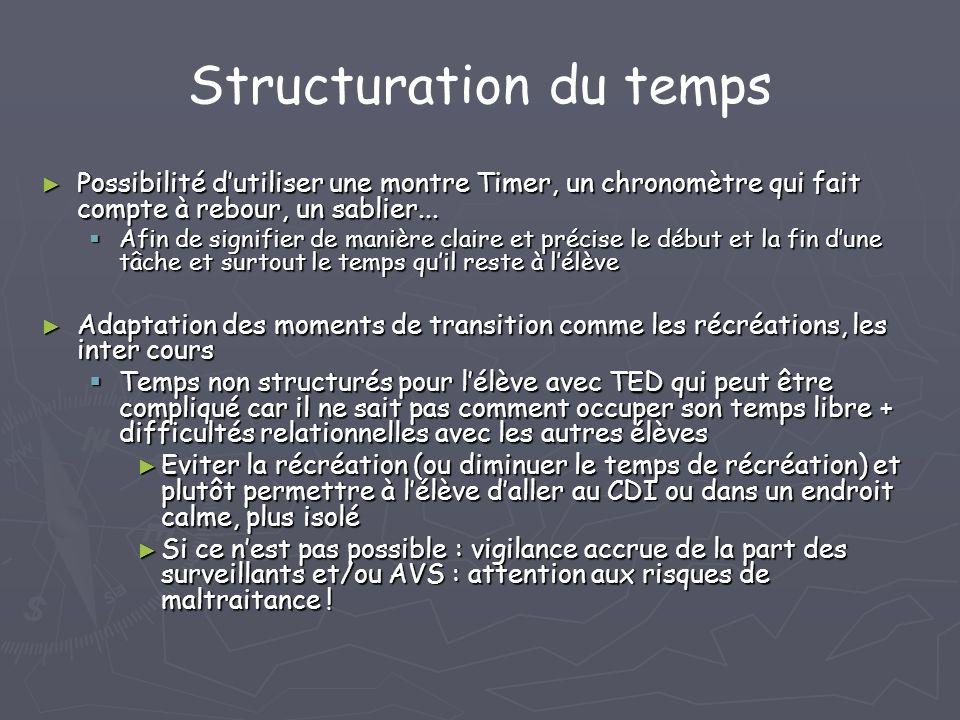 Structuration du temps Possibilité dutiliser une montre Timer, un chronomètre qui fait compte à rebour, un sablier... Possibilité dutiliser une montre