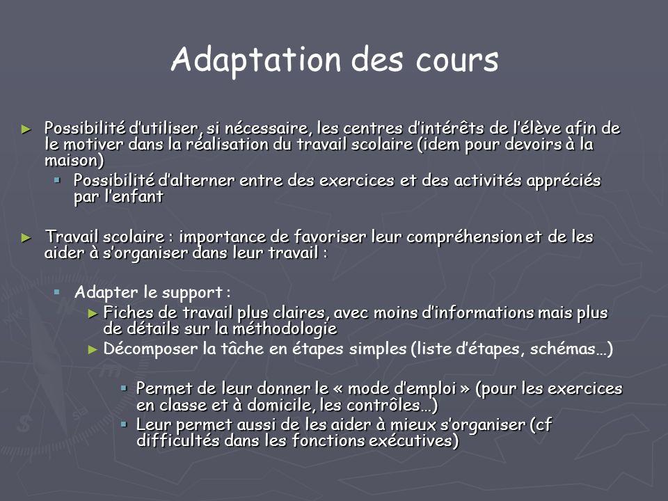 Adaptation des cours Possibilité dutiliser, si nécessaire, les centres dintérêts de lélève afin de le motiver dans la réalisation du travail scolaire