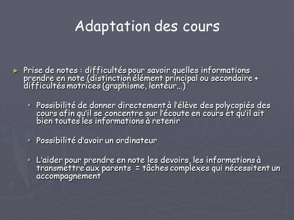 Adaptation des cours Prise de notes : difficultés pour savoir quelles informations prendre en note (distinction élément principal ou secondaire + diff