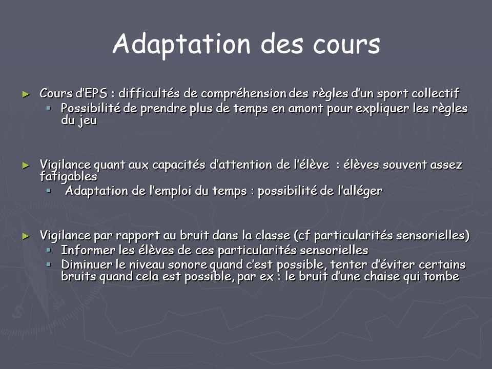 Adaptation des cours Cours dEPS : difficultés de compréhension des règles dun sport collectif Cours dEPS : difficultés de compréhension des règles dun