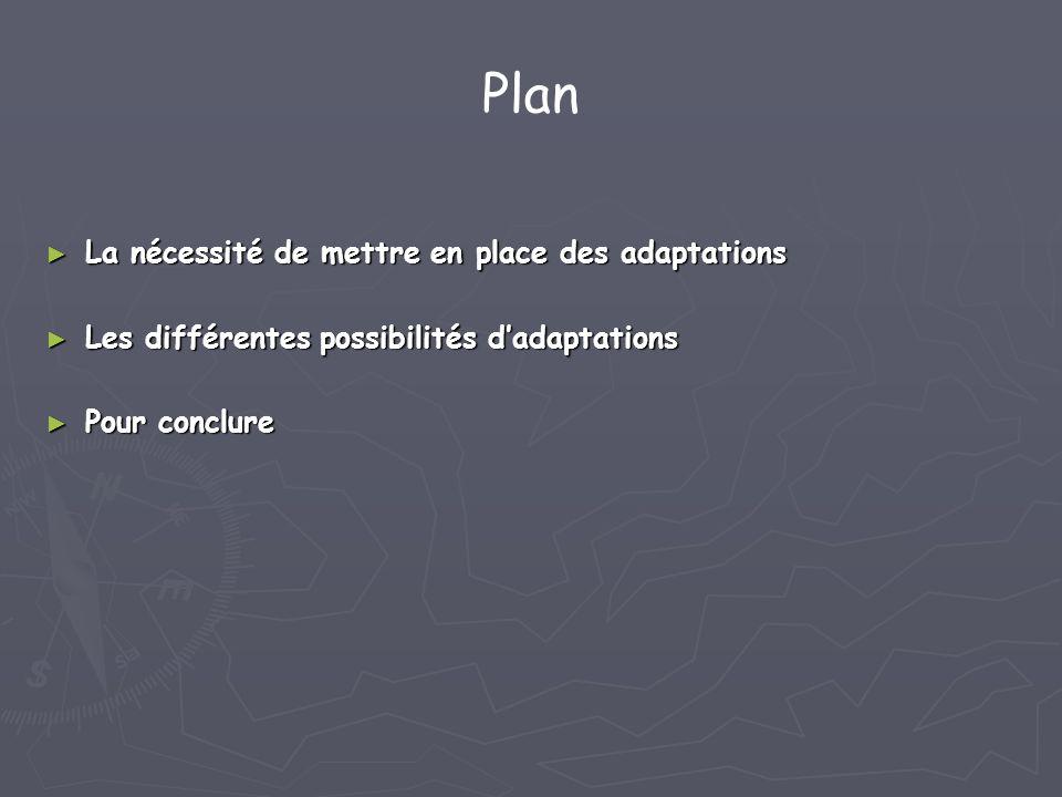 Plan La nécessité de mettre en place des adaptations La nécessité de mettre en place des adaptations Les différentes possibilités dadaptations Les dif