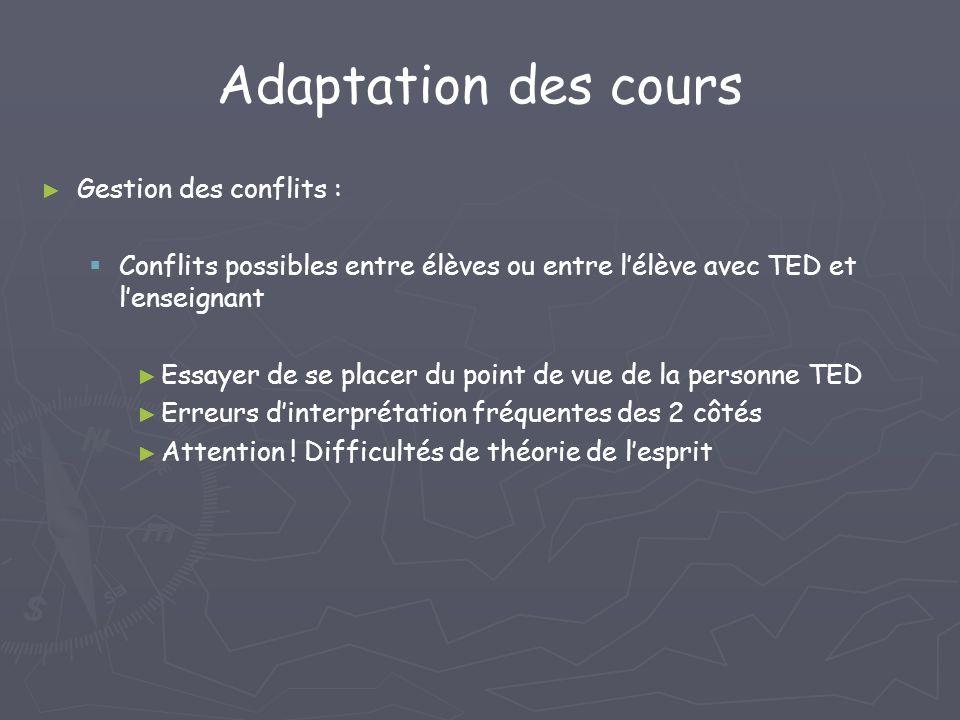 Adaptation des cours Gestion des conflits : Conflits possibles entre élèves ou entre lélève avec TED et lenseignant Essayer de se placer du point de v