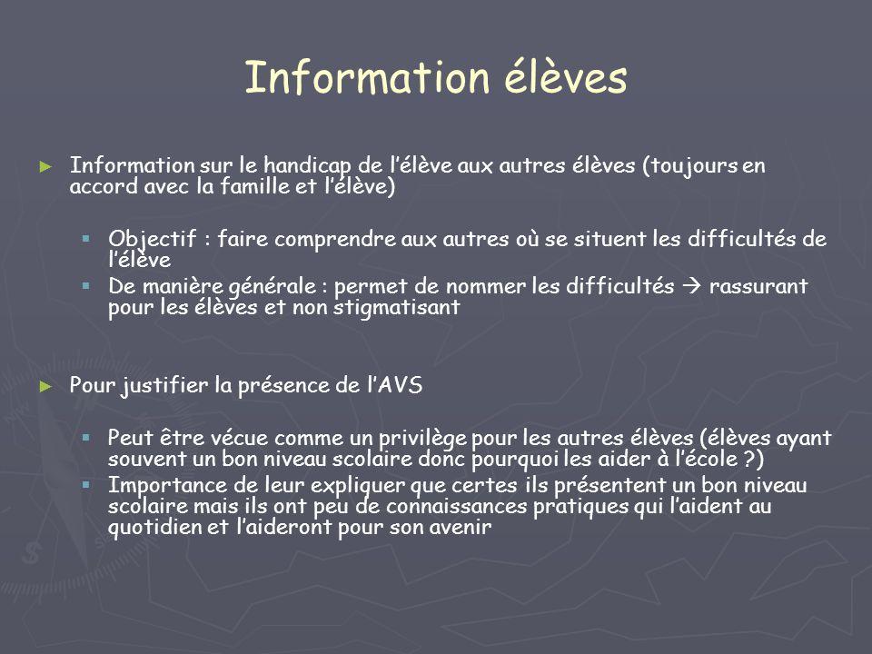 Information élèves Information sur le handicap de lélève aux autres élèves (toujours en accord avec la famille et lélève) Objectif : faire comprendre