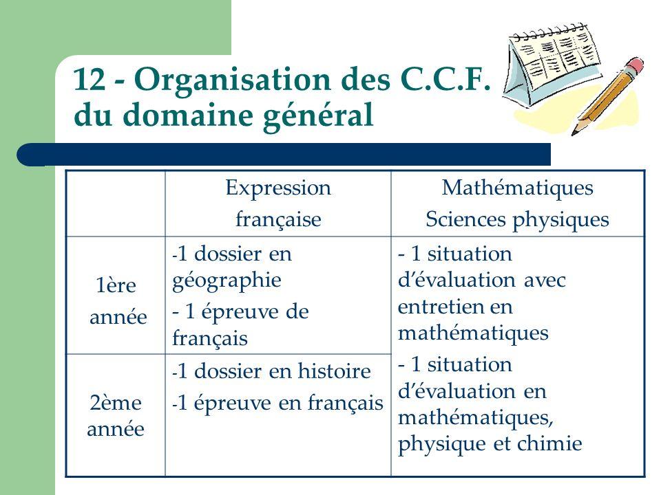 12 - Organisation des C.C.F. du domaine général Expression française Mathématiques Sciences physiques 1ère année - 1 dossier en géographie - 1 épreuve