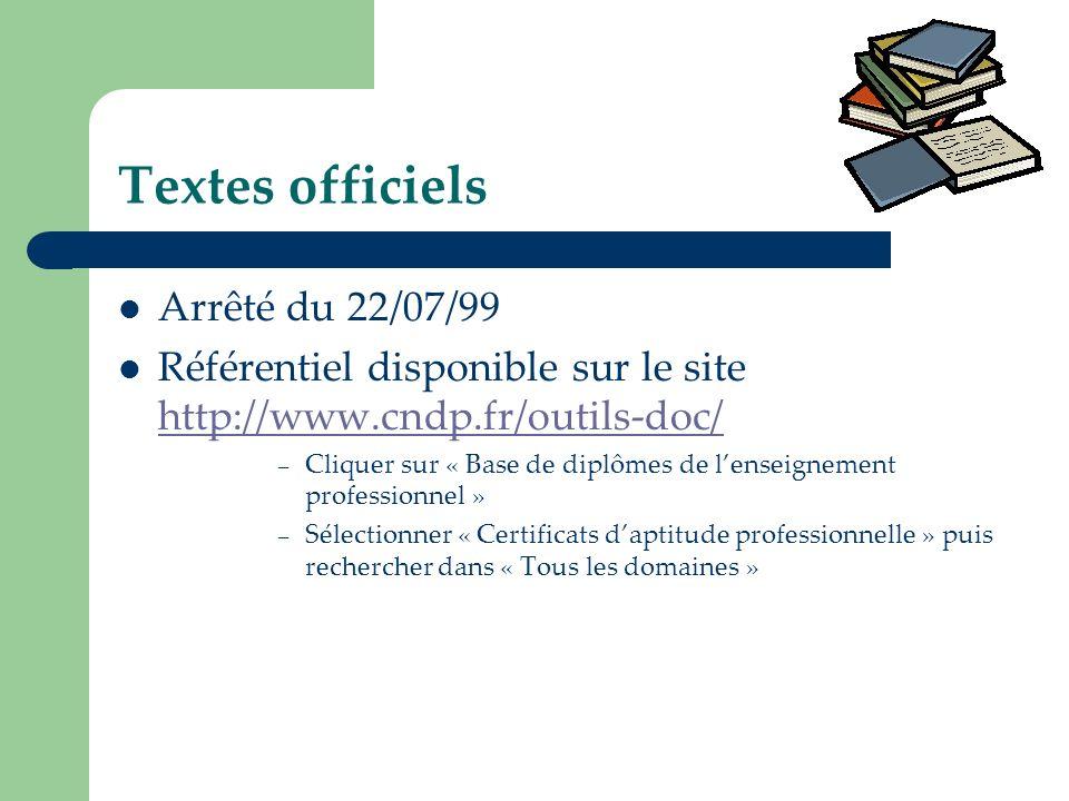 Textes officiels Arrêté du 22/07/99 Référentiel disponible sur le site http://www.cndp.fr/outils-doc/ http://www.cndp.fr/outils-doc/ – Cliquer sur « B