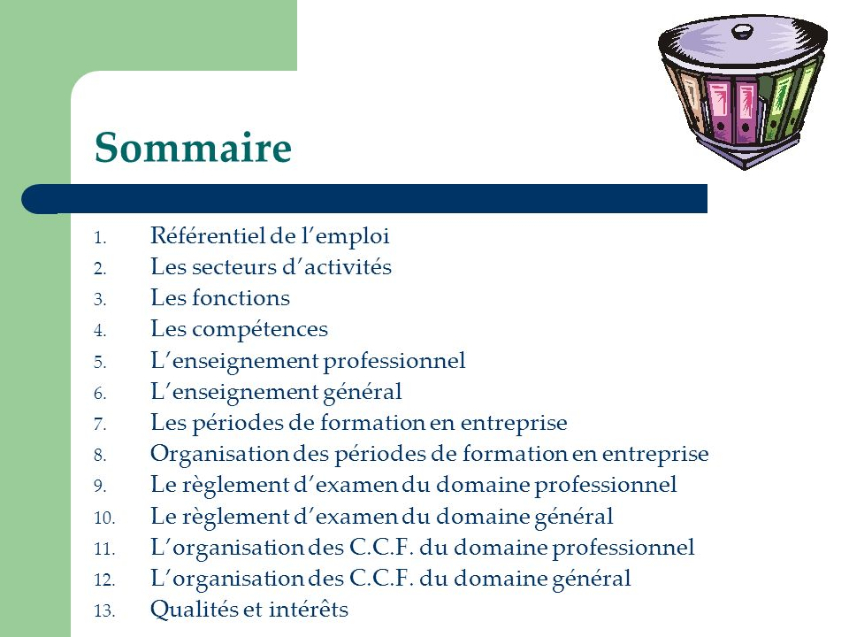 Sommaire 1. Référentiel de lemploi 2. Les secteurs dactivités 3. Les fonctions 4. Les compétences 5. Lenseignement professionnel 6. Lenseignement géné