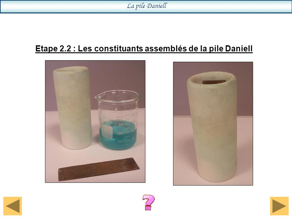 Etape 2.2 : Les constituants assemblés de la pile Daniell La pile Daniell