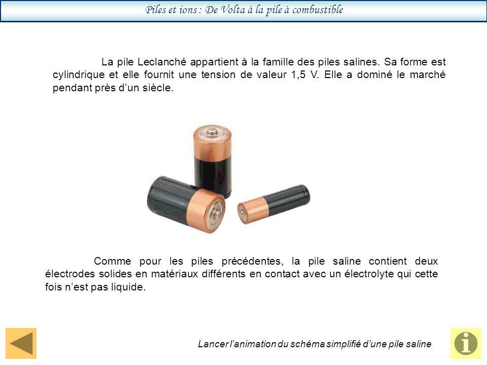 Piles et ions : De Volta à la pile à combustible La pile Leclanché appartient à la famille des piles salines.