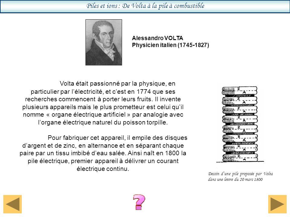 Piles et ions : De Volta à la pile à combustible Volta était passionné par la physique, en particulier par lélectricité, et cest en 1774 que ses recherches commencent à porter leurs fruits.