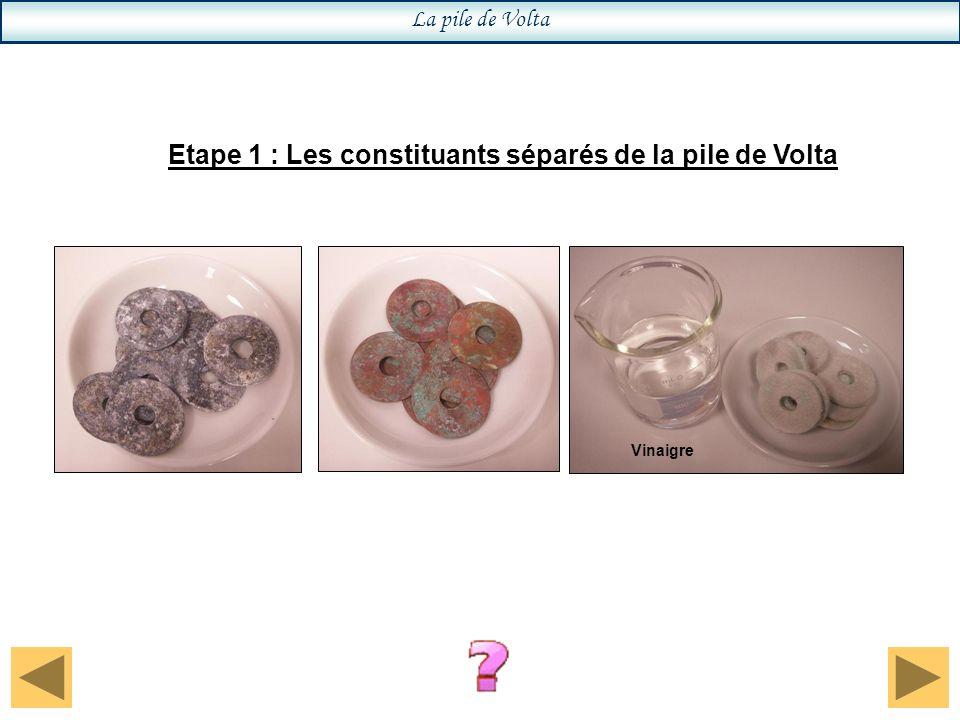 La pile de Volta Etape 2 : Les constituants assemblés de la pile de Volta Calibre : 200 mV continu
