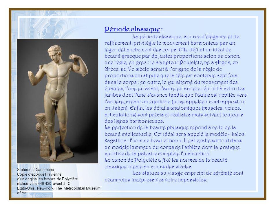 Période classique : La période classique, source délégance et de raffinement, privilégie le mouvement harmonieux par un léger déhanchement des corps.