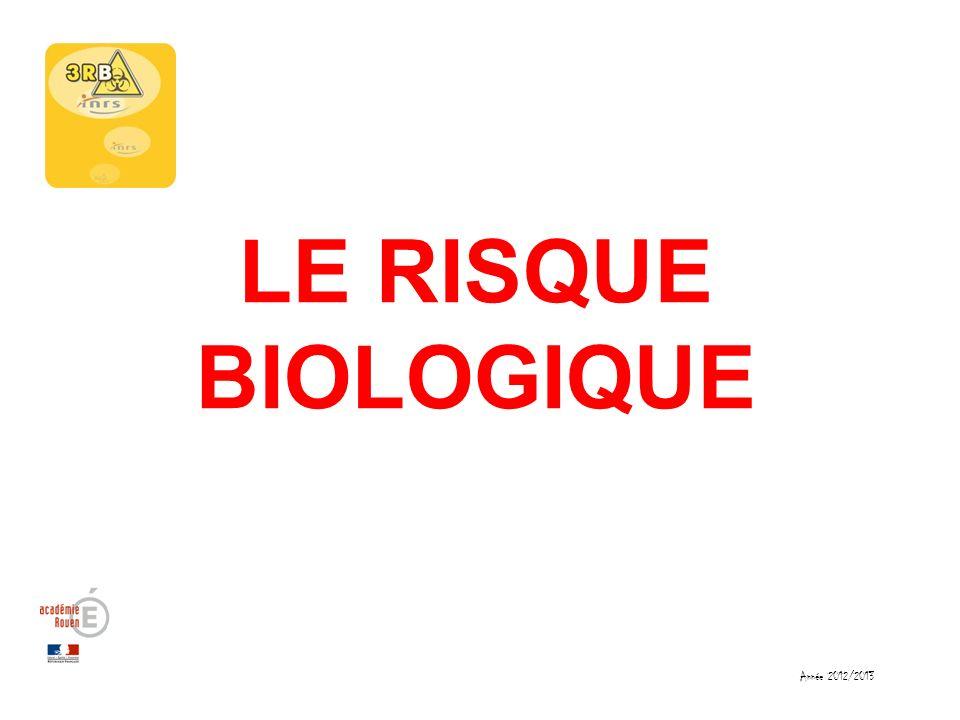 Année 2012/2013 LE RISQUE BIOLOGIQUE