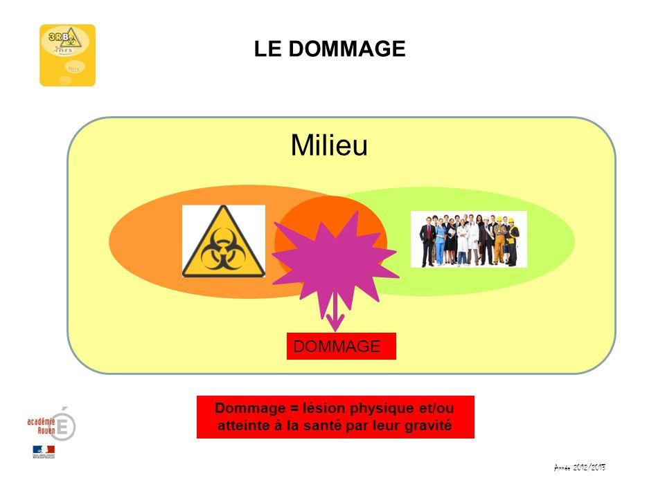 Année 2012/2013 LE DOMMAGE Milieu DOMMAGE Dommage = lésion physique et/ou atteinte à la santé par leur gravité