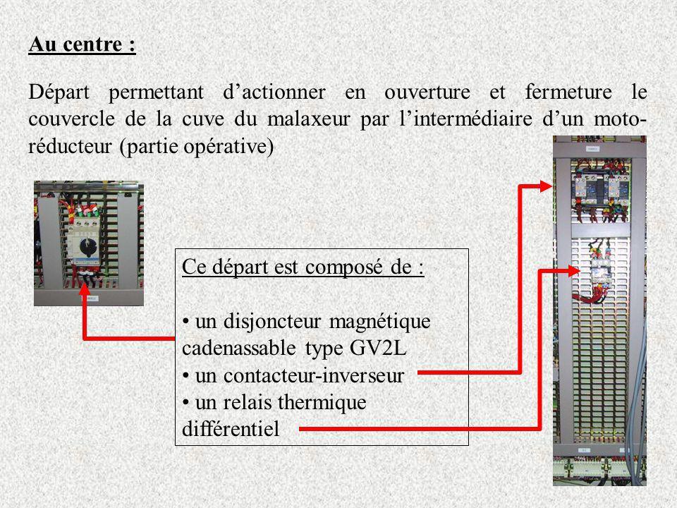 Au centre : Départ permettant dactionner en ouverture et fermeture le couvercle de la cuve du malaxeur par lintermédiaire dun moto- réducteur (partie