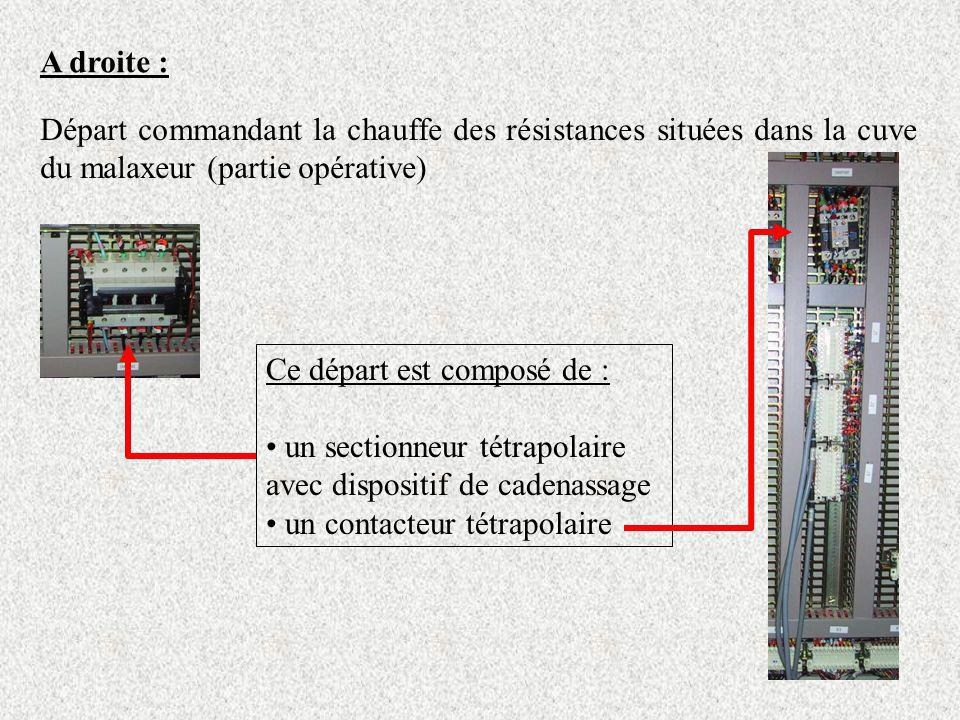A droite : Départ commandant la chauffe des résistances situées dans la cuve du malaxeur (partie opérative) Ce départ est composé de : un sectionneur