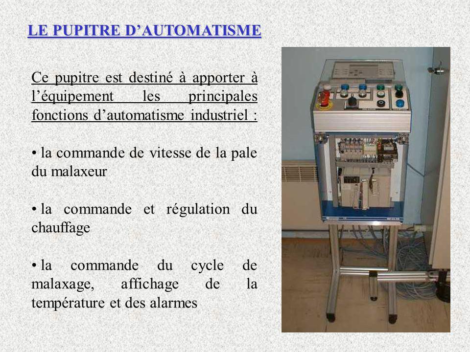LE PUPITRE DAUTOMATISME Ce pupitre est destiné à apporter à léquipement les principales fonctions dautomatisme industriel : la commande de vitesse de