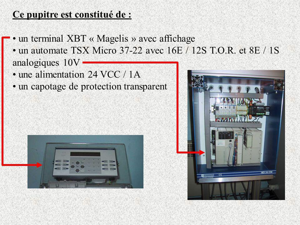 Ce pupitre est constitué de : un terminal XBT « Magelis » avec affichage un automate TSX Micro 37-22 avec 16E / 12S T.O.R. et 8E / 1S analogiques 10V