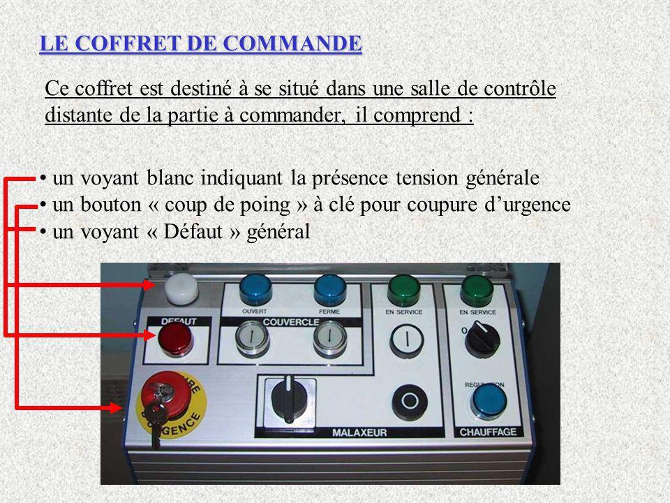LE COFFRET DE COMMANDE Ce coffret est destiné à se situé dans une salle de contrôle distante de la partie à commander, il comprend : un voyant blanc i