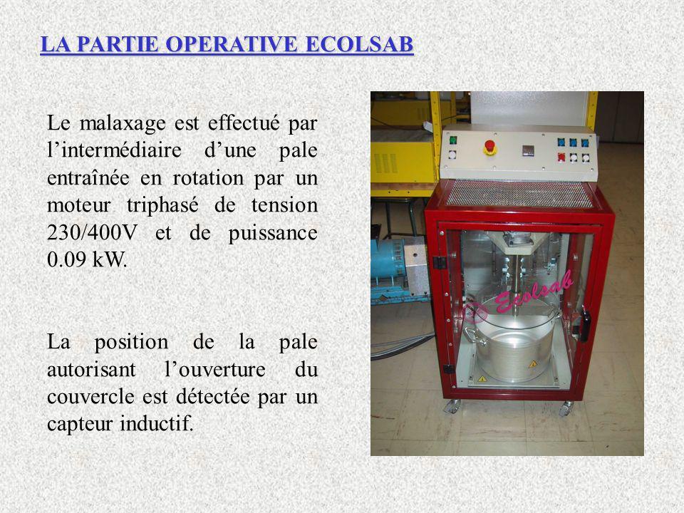 Le malaxage est effectué par lintermédiaire dune pale entraînée en rotation par un moteur triphasé de tension 230/400V et de puissance 0.09 kW. La pos