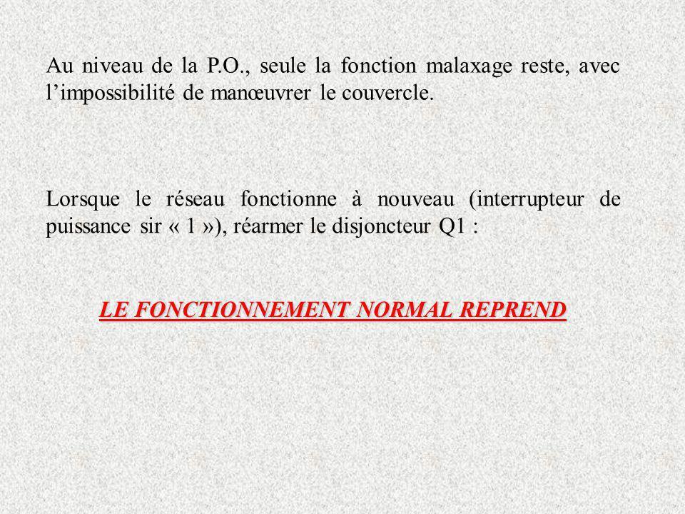 LE FONCTIONNEMENT NORMAL REPREND Au niveau de la P.O., seule la fonction malaxage reste, avec limpossibilité de manœuvrer le couvercle. Lorsque le rés