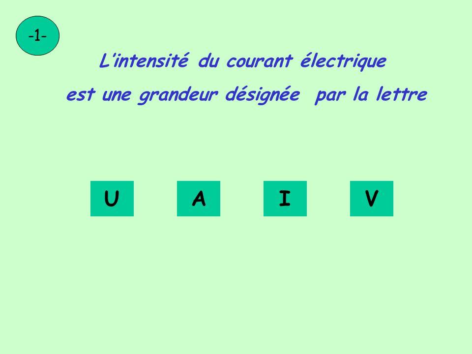 Lintensité du courant électrique est une grandeur désignée par la lettre -1- UAIV