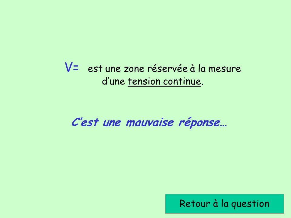 Retour à la question Cest une mauvaise réponse… V= est une zone réservée à la mesure dune tension continue.
