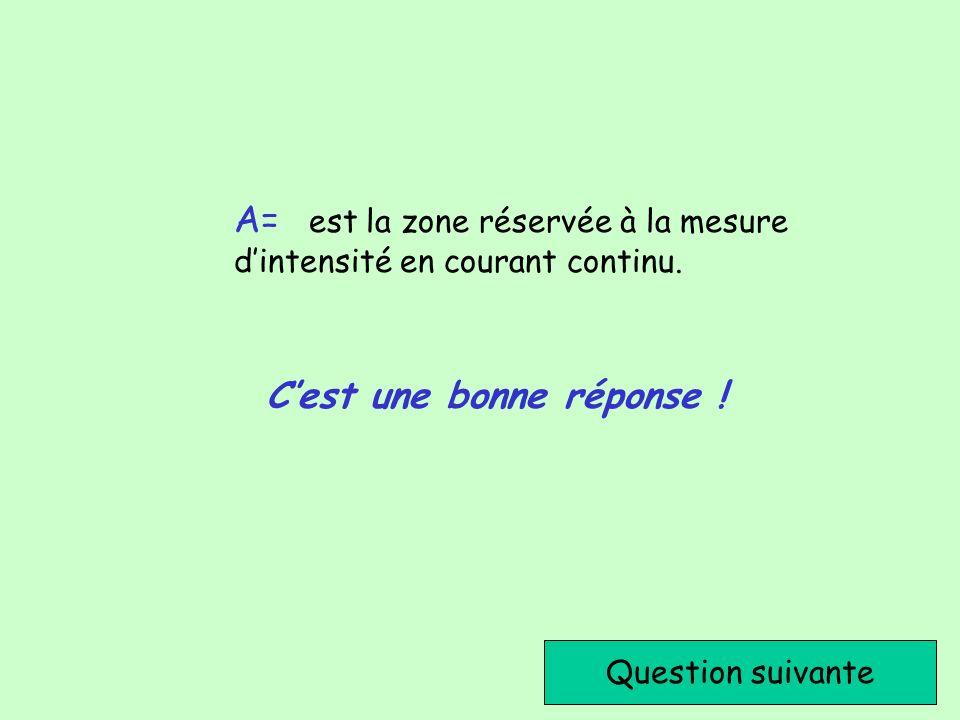 Cest une bonne réponse ! Question suivante A= est la zone réservée à la mesure dintensité en courant continu.