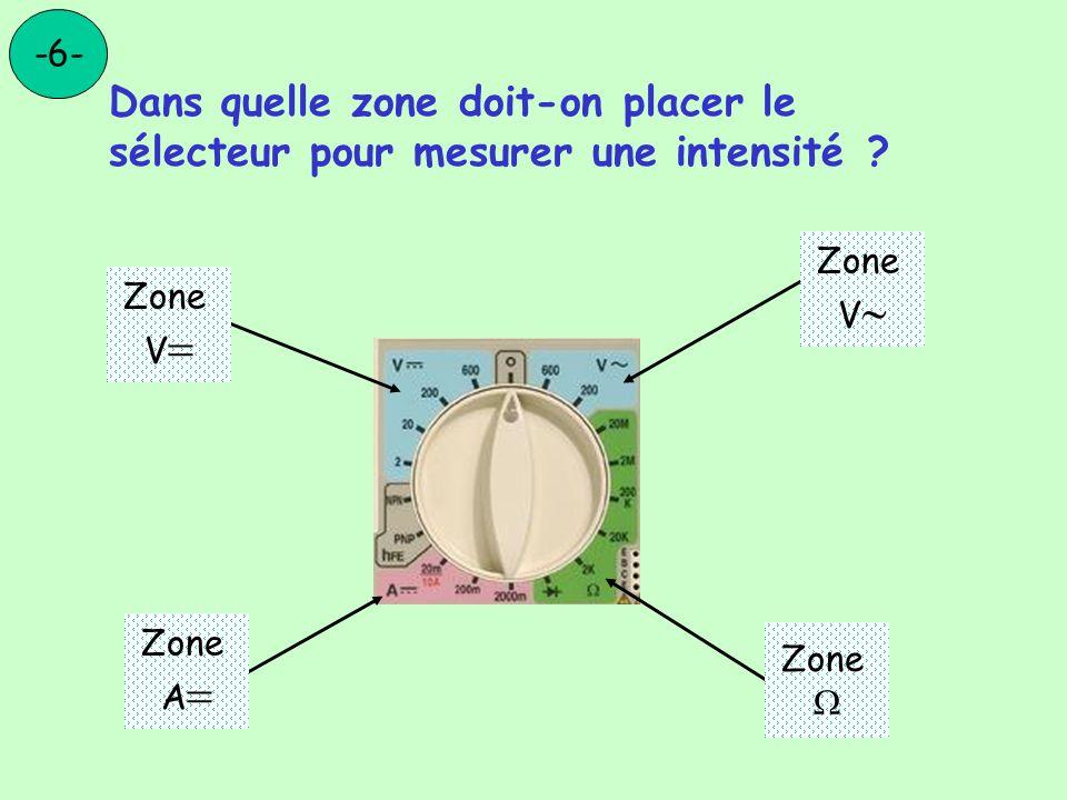 Dans quelle zone doit-on placer le sélecteur pour mesurer une intensité ? -6- Zone V Zone V Zone Zone A