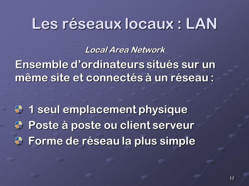17 Les réseaux locaux : LAN Local Area Network Ensemble dordinateurs situés sur un même site et connectés à un réseau : 1 seul emplacement physique 1 seul emplacement physique Poste à poste ou client serveur Poste à poste ou client serveur Forme de réseau la plus simple Forme de réseau la plus simple
