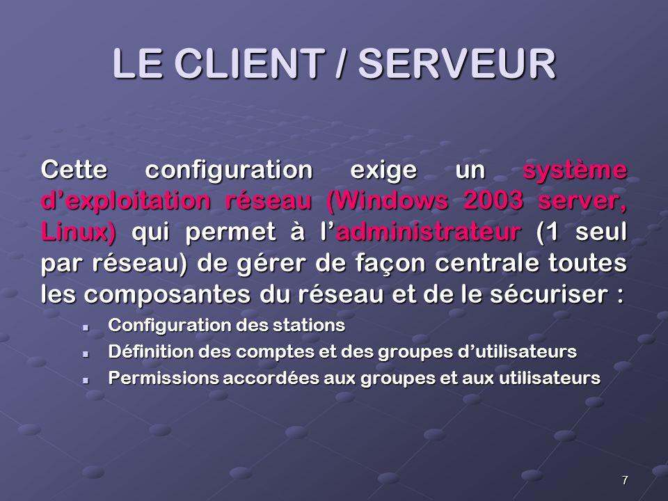 7 LE CLIENT / SERVEUR Cette configuration exige un système dexploitation réseau (Windows 2003 server, Linux) qui permet à ladministrateur (1 seul par réseau) de gérer de façon centrale toutes les composantes du réseau et de le sécuriser : Configuration des stations Configuration des stations Définition des comptes et des groupes dutilisateurs Définition des comptes et des groupes dutilisateurs Permissions accordées aux groupes et aux utilisateurs Permissions accordées aux groupes et aux utilisateurs