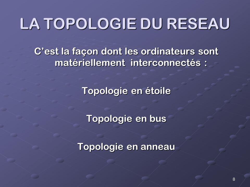 8 LA TOPOLOGIE DU RESEAU Cest la façon dont les ordinateurs sont matériellement interconnectés : Topologie en étoile Topologie en bus Topologie en anneau