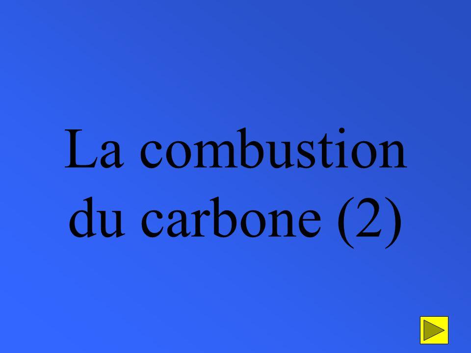 La combustion du carbone (morceau de charbon) dans le dioxygène carbone (morceau de charbon) dioxygène