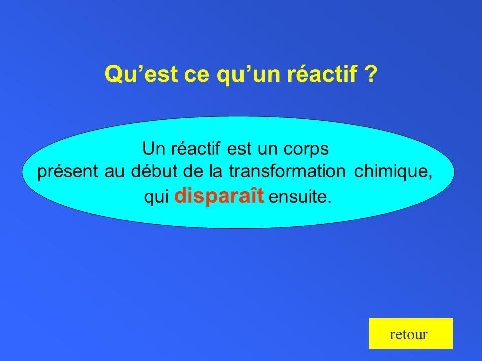 Quest ce quun réactif ? Un réactif est un corps présent au début de la transformation chimique, qui disparaît ensuite. retour